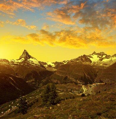 Beautiful mountain landscape at sunset. Matterhorn and Gabelhorn in Pennine alps, Switzerland.