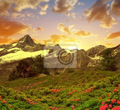 Beautiful mountain landscape at sunset. Zinalrothorn in Pennine alps, Switzerland.