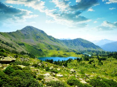 Beautiful mountain landscape with lake in Neouvielle national nature reserve, French Pyrenees.