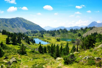 Beautiful mountain landscape with lakes in Neouvielle national nature reserve, French Pyrenees.