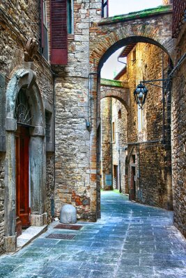 Wall mural beautiful old streets of Italian medieval towns,Tody
