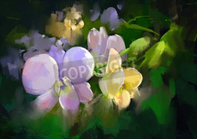Wall mural beautiful painting of orchid flowers