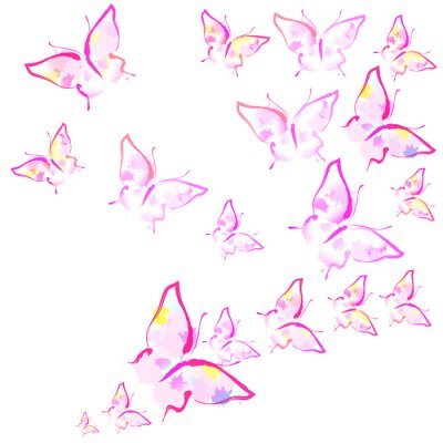 Wall mural beautiful pink butterflies, isolated  on a white