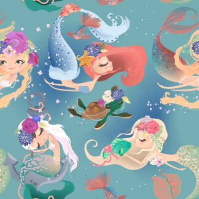Wall mural Beautiful seamless pattern with cute mermaid girls, princess in floral wreath, bouquets, turtle and fish