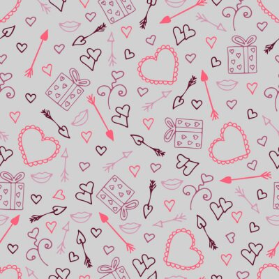 Wall mural Beautiful seamless pattern with hearts, arrows for lovers.