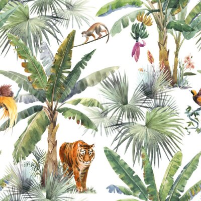 Wall mural Beautiful seamless pattern with watercolor tropical palms and jungle animals tiger, giraffe, leopard. Stock illustration.