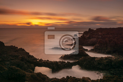 beautiful seascape over the volcanic cliffs of Los Hervideros, Lanzarote
