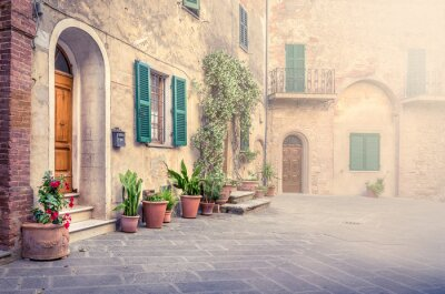 Wall mural Beautiful street of Montisi, Tuscany