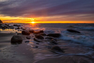 beautiful sunset on the Baltic coast in Poland