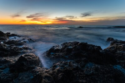 Beautiful sunset over the rocky coast of Fuerteventura