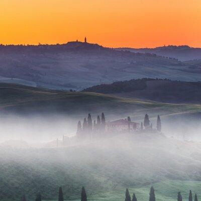 Wall mural Beautiful Tuscany landscape at sunrise, Italy