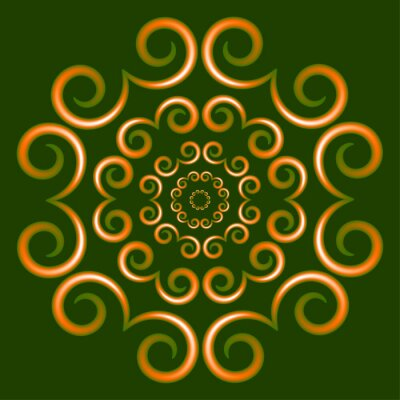 beautiful vector background with graphic ornament on green mandala background