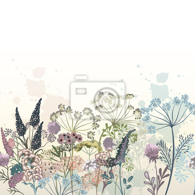 Wall mural Beautiful vector hand drawn flowers illustration for design
