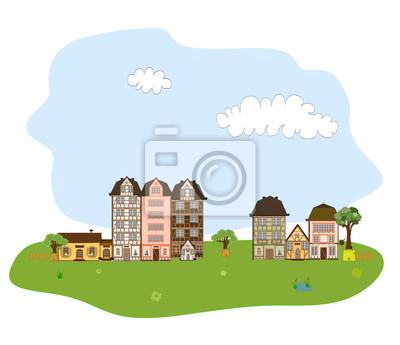 Beautiful village, town or neighborhood on green hills vector