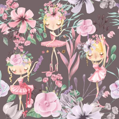 Wall mural Beautiful watercolor floral seamless pattern with cute ballet girls, ballerinas. Abstract roses, peony, lilacs and branches on dark background
