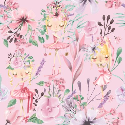 Wall mural Beautiful watercolor floral seamless pattern with cute ballet girls, ballerinas. Abstract roses, peony, lilacs and branches on pink background