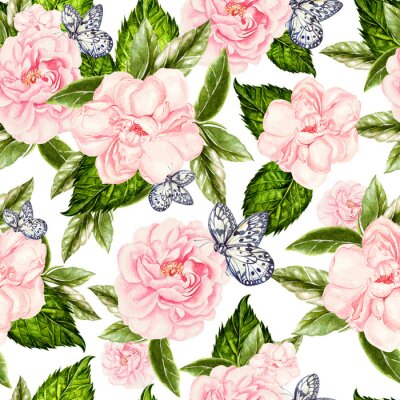 Wall mural Beautiful watercolor seamless pattern with flowers of rose and peony, butterflies.