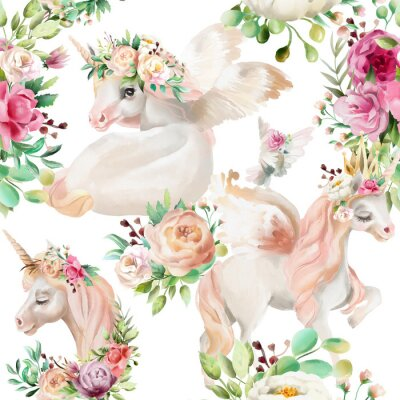 Wall mural Beautiful, watercolor unicorns princess, pegasus in gold crown and floral, flowers peony and rose bouquets and pigeon on white background seamless pattern