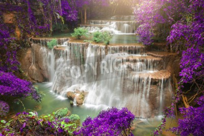 Wall mural Beautiful waterfall in autumn forest, deep forest waterfall, Kanchanaburi province, Thailand