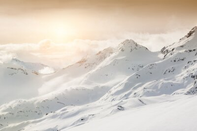 Wall mural Beautiful winter landscape with snow-covered mountains