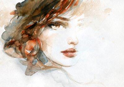 Wall mural beautiful woman. fashion illustration. watercolor painting
