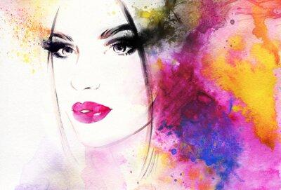 Wall mural Beautiful woman portrait. Abstract fashion watercolor illustration
