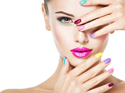 Wall mural beautiful woman  with colored nails