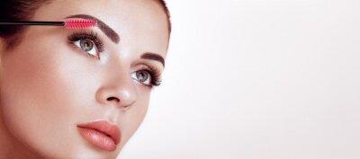 Wall mural Beautiful Woman with Extreme Long False Eyelashes. Eyelash Extensions. Makeup, Cosmetics. Beauty, Skincare