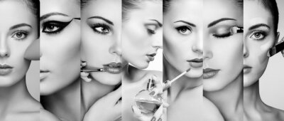 Wall mural Beauty collage. Faces of women. Fashion photo. Makeup artist applies lipstick and eye shadow. Woman applying perfume