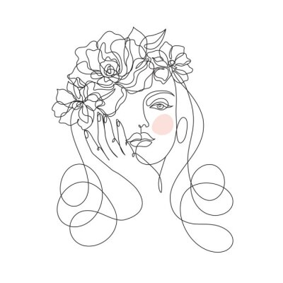 Wall mural Beauty woman face with flowers one line drawing art. Abstract minimal portrait continuous line. Minimalist Orchids flowers in hair Vector illustration