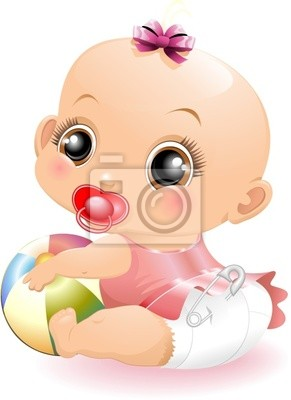 Wall mural Bebè con Pallone-Baby Playing with Ball-2-Vector