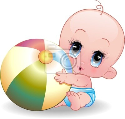 Bebè con Pallone-Baby Playing with Ball-Vector