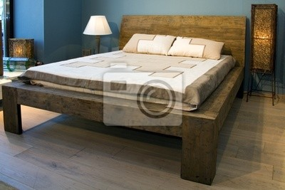 Bedroom with old-style wooden bed