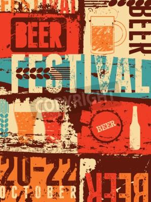 Wall mural Beer Festival vintage style grunge poster. Retro vector illustration.