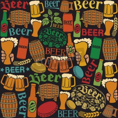 Wall mural beer icons seamless pattern beer background, hops leaf, hop branch, wooden barrel, glass of beer, beer can, bottle cap, beer mug, beer beer bottles