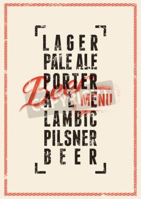 Wall mural Beer menu design. Vintage grunge style beer poster. Vector illustration.