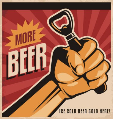 Wall mural Beer retro poster design with revolution fist