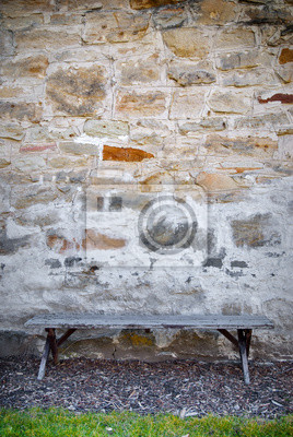 Wall mural Bench and Stone Wall