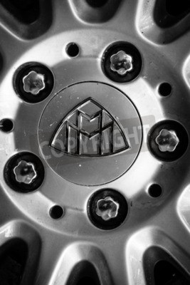 Wall mural BERLIN - JUNE 14, 2015: Detail of fastening of a wheel of a full-size luxury car Maybach 57. Black and white. The Classic Days on Kurfuerstendamm.