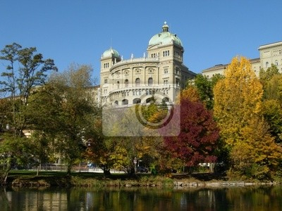Bern House of Parliament on the River Aare