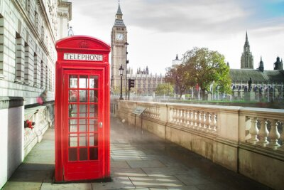Wall mural Big ben and red phone cabine in London
