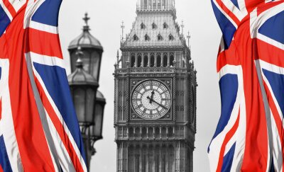 Wall mural Big Ben in London and English flag