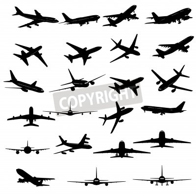 Wall mural Big collection of different airplane silhouettes.