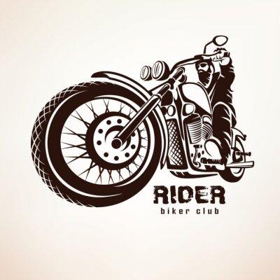 Wall mural biker, motorcycle grunge vector silhouette