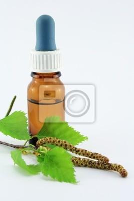 birch flowers with dropper bottle