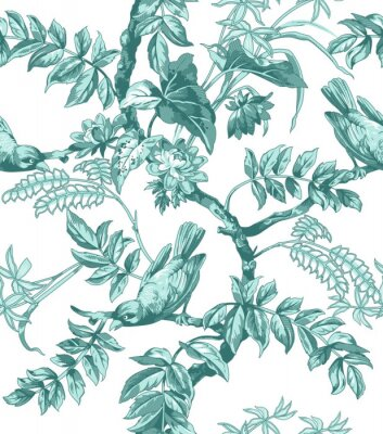 Wall mural Birds and Flowers Seamless Pattern
