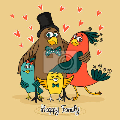 Wall mural birds happy family