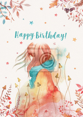 Birthday card template with cute red headed girl wearing a blue scarf and a coat decorated with florals