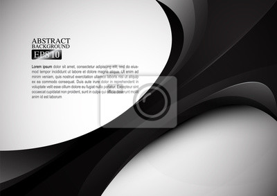 Wall mural Black abstract form and gray space background vector design
