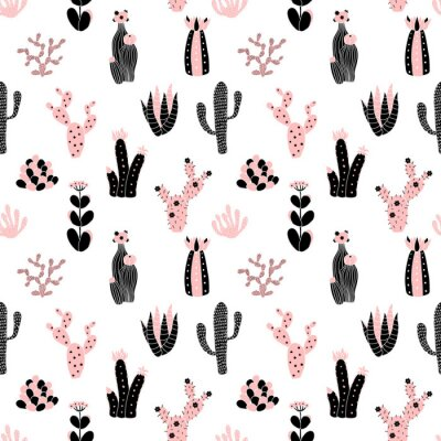 Wall mural black and pink pattern